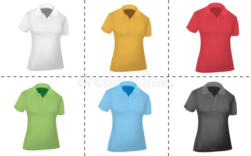 Camisas de polo coloreadas (mujeres). ilustración del vector