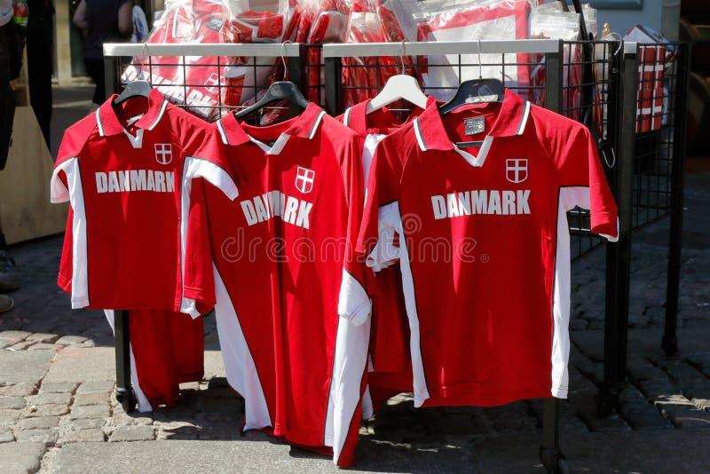 Camisas dinamarquesas do fotball foto de stock royalty free