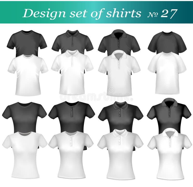 Camisas e t-shirt preto e branco de polo dos homens. ilustração do vetor