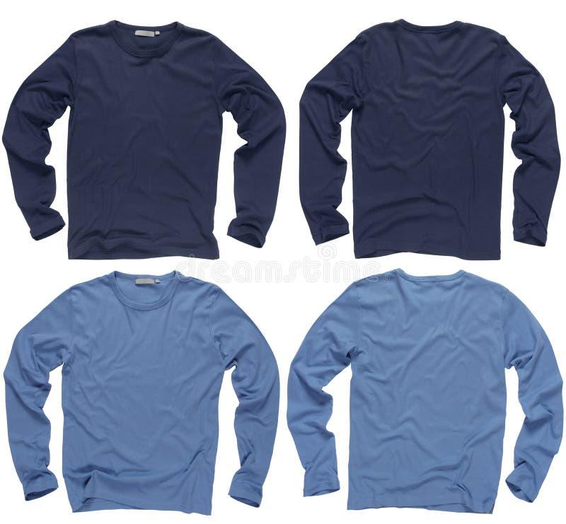 Camisas longas azuis em branco da luva foto de stock royalty free