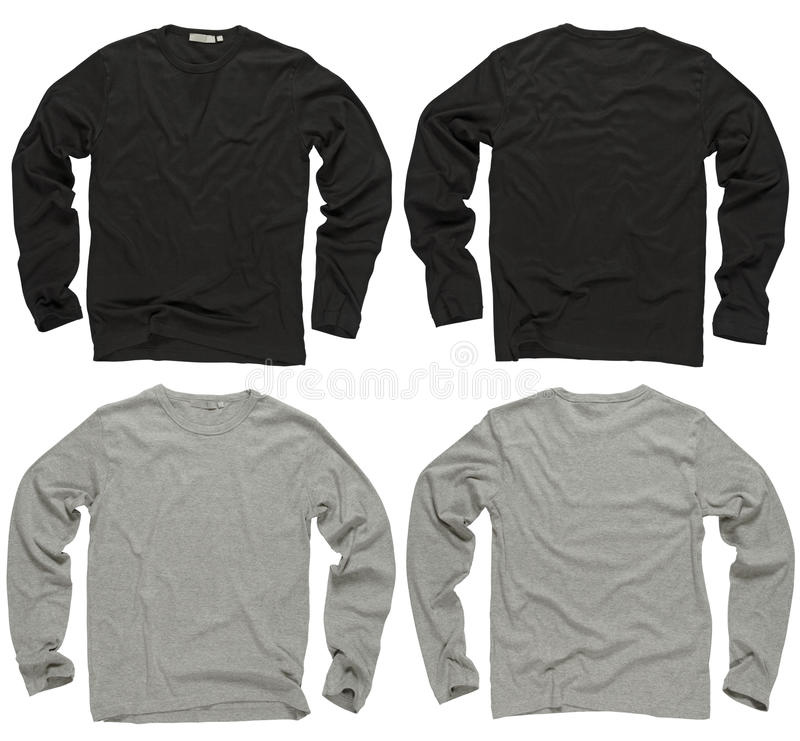 Camisas longas pretas e cinzentas em branco da luva fotos de stock royalty free