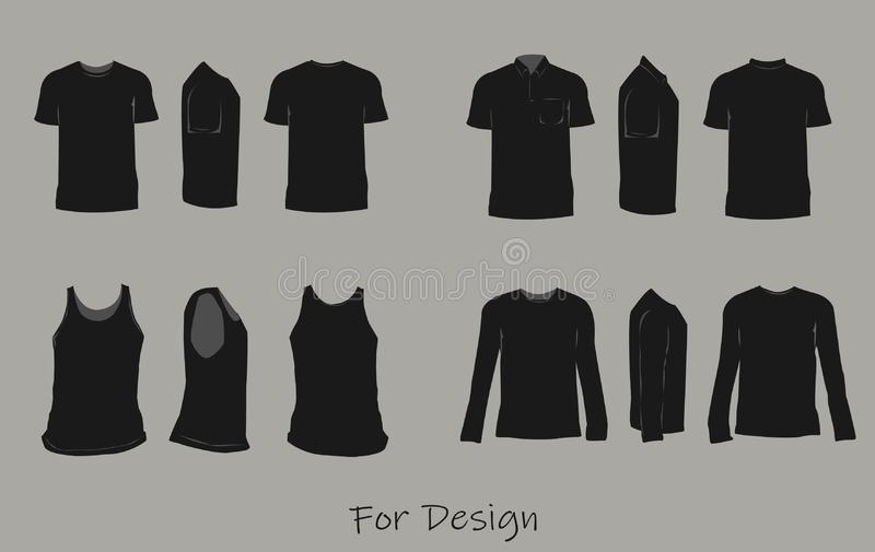 Camisas pretas para moldes parte dianteira, parte traseira, e vetor do projeto das vistas laterais ilustração do vetor