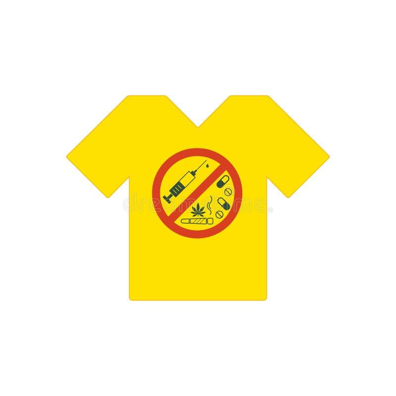 Camiseta amarilla Ningunas drogas permitidas Drogas, hoja de la marijuana con la muestra prohibida - ninguna droga Droga el icono ilustración del vector