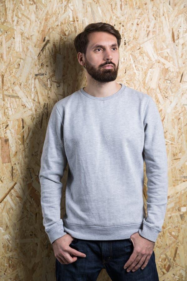 Camiseta barbuda del gris del hombre imagenes de archivo