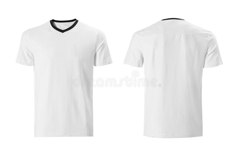 Camiseta blanca con la plantilla negra del diseño del cuello aislada en blanco imagen de archivo libre de regalías
