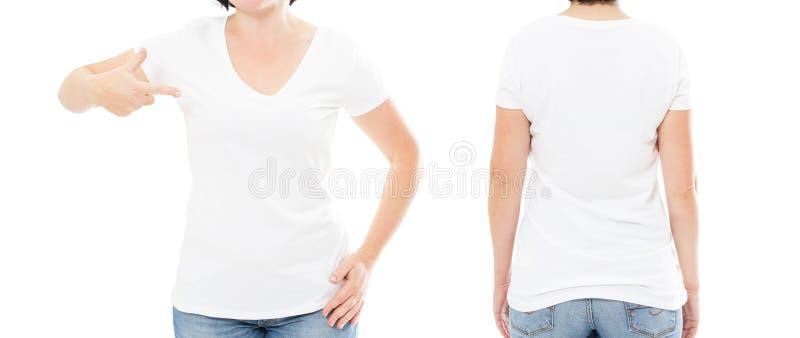 Camiseta blanca de la mujer en el fondo blanco, sistema de la camiseta fotos de archivo
