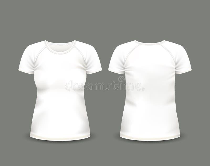 Camiseta blanca del raglán de las mujeres en frente y visiones traseras Modelo del vector Malla hecha a mano completamente editab foto de archivo