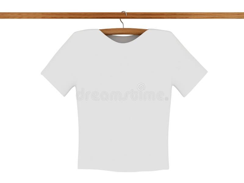 Camiseta blanca en percha de capa stock de ilustración