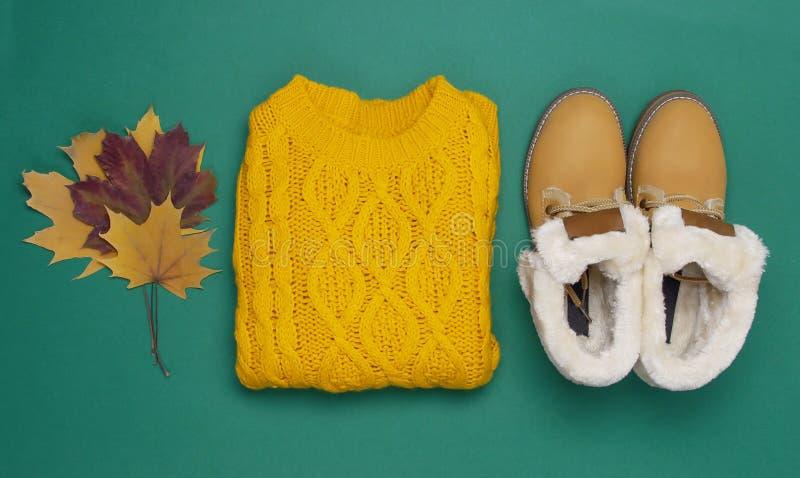 Camiseta, botas e folhas de outono feitas malha alaranjadas fêmeas em escuro - configuração lisa verde da opinião superior do fun fotografia de stock royalty free
