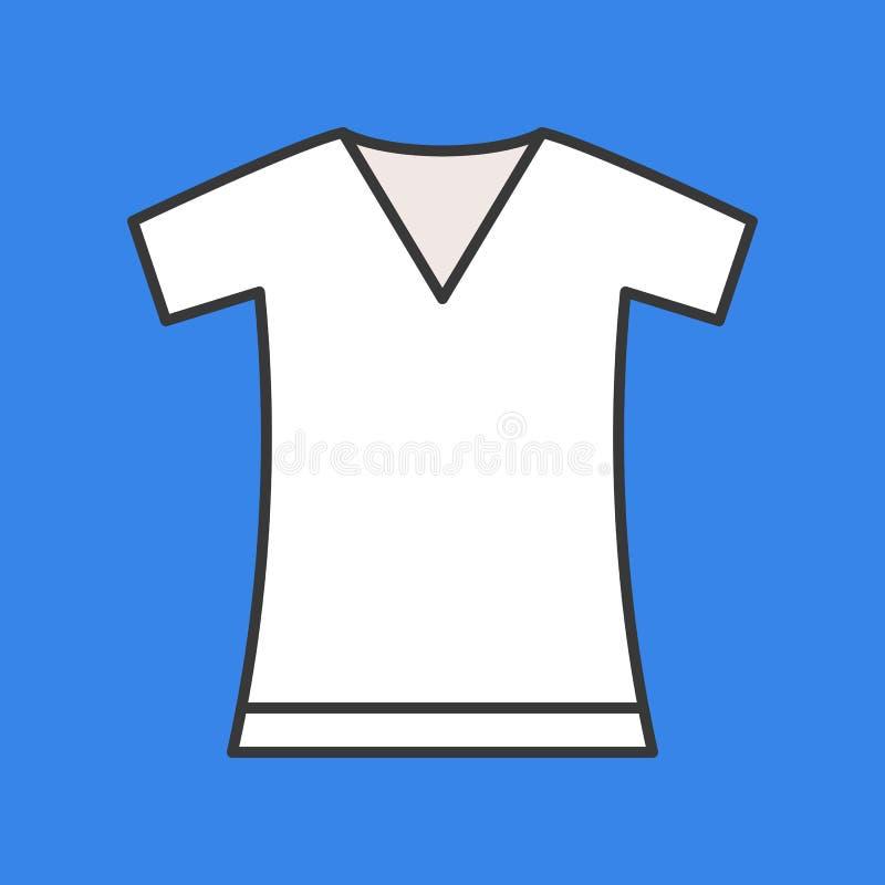 Camiseta con cuello de pico, movimiento editable llenado del esquema del color libre illustration