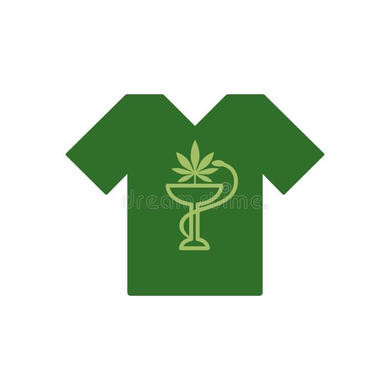 Camiseta con la serpiente y el cuenco Marijuana Leaf Cáñamo médico Salud y terapia médica ilustración del vector