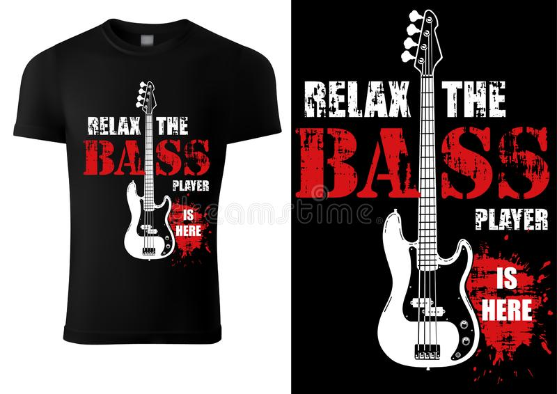 Camiseta con lema musical y Bass Guitar libre illustration