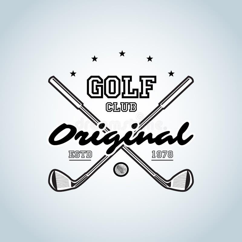 Camiseta de los clubs de golf Logotipo del club de golf para los torneos, las organizaciones y los clubs de campo del golf Illust ilustración del vector