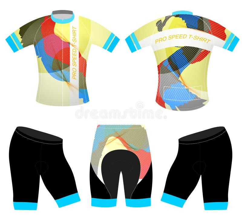 Camiseta de los deportes de los colores de los gráficos stock de ilustración