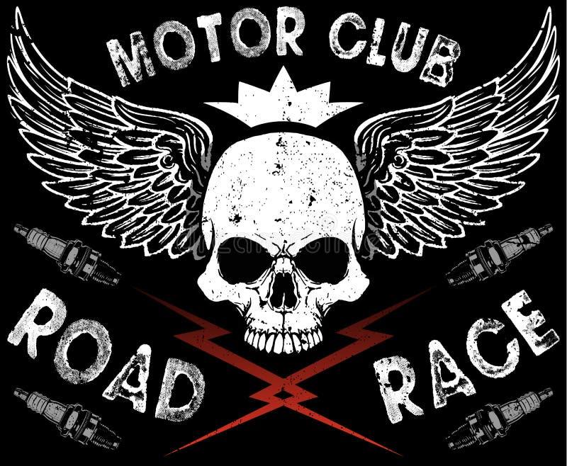 Camiseta del cráneo del club del motor ilustración del vector