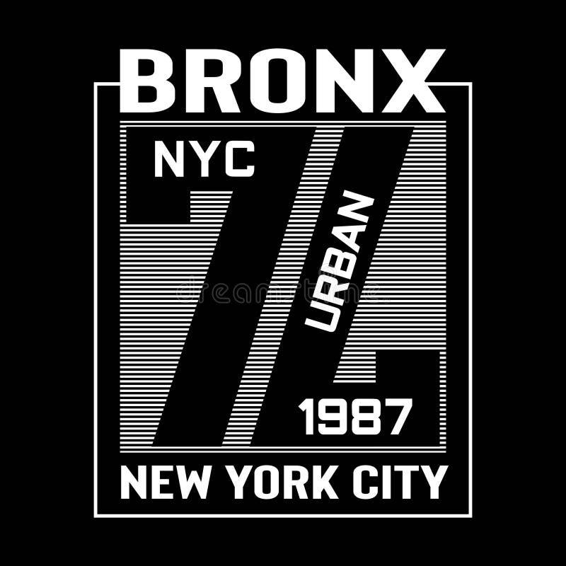 Camiseta del diseño de la tipografía de Bronx Nueva York libre illustration