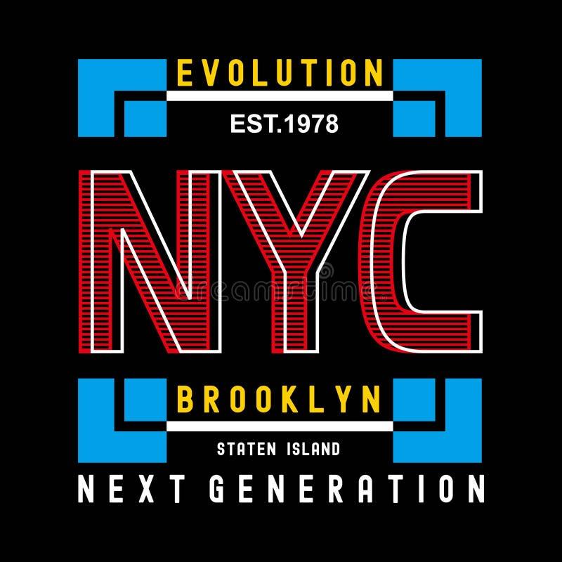 Camiseta del diseño de la tipografía de Nueva York Brooklyn de la evolución libre illustration