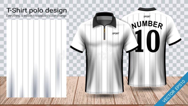Camiseta del polo con la plantilla de la maqueta del deporte de la cremallera, del jersey de fútbol para el equipo del fútbol o e stock de ilustración