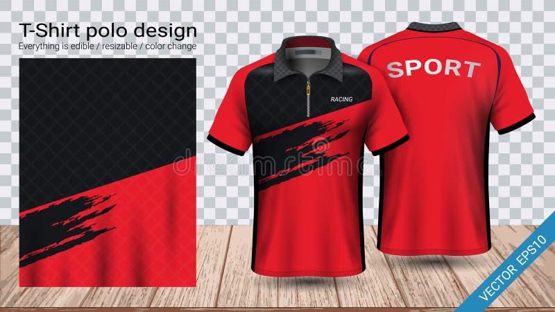 Camiseta del polo con la plantilla de la maqueta del deporte de la cremallera, del jersey de fútbol para el equipo del fútbol o e ilustración del vector
