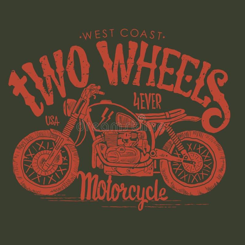 Camiseta dibujada mano del vector de la motocicleta del vintage ilustración del vector