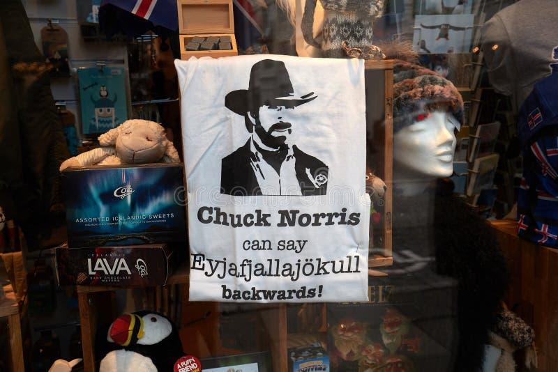 Camiseta divertida vendida en Islandia foto de archivo