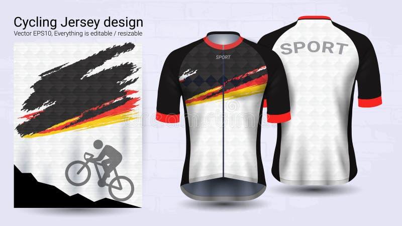 Camiseta do ciclismo, molde curto do modelo do esporte da luva, projeto gráfico para o fato da bicicleta ou o vestuário da roupa  ilustração royalty free