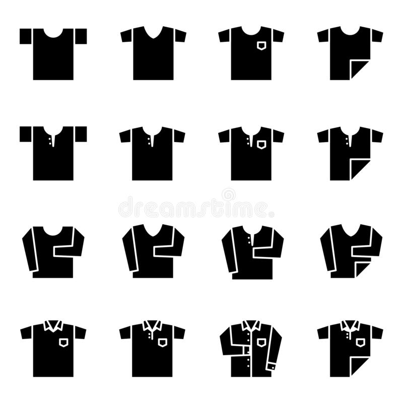 Camiseta e icono largo del doblez de la manga fijados para el armario ilustración del vector