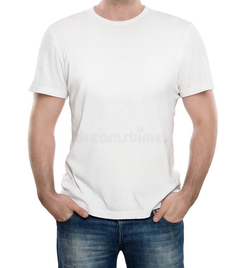 Camiseta en blanco aislada en blanco fotografía de archivo