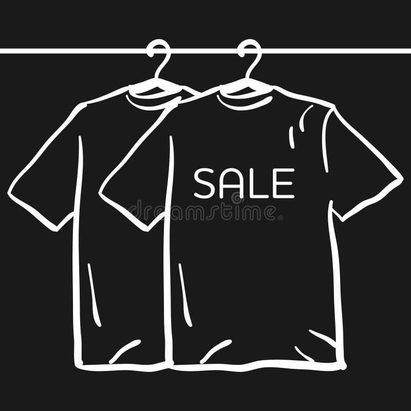 Camiseta en una suspensión en un fondo negro ilustración del vector