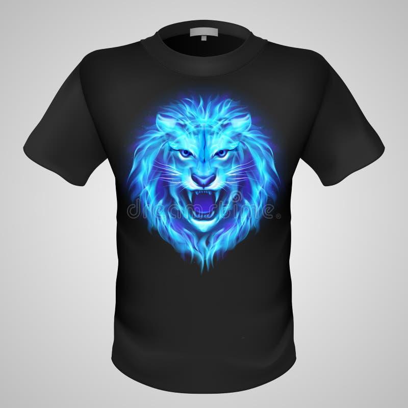 Camiseta masculina con la impresión del león. ilustración del vector