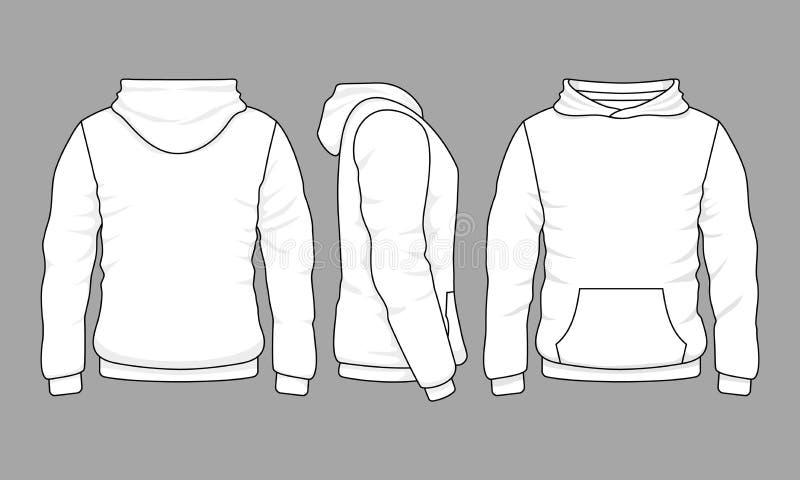 Camiseta masculina do hoodie na parte dianteira, na parte traseira e em vistas laterais ilustração stock