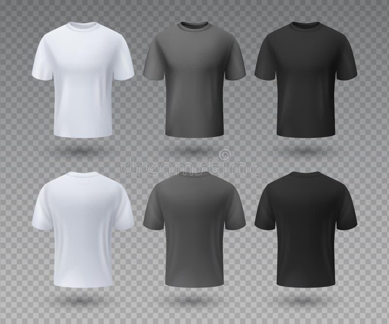 Camiseta masculina realista La maqueta blanca y negra, el frente y la visión trasera 3D aislaron la plantilla del diseño Desgaste libre illustration