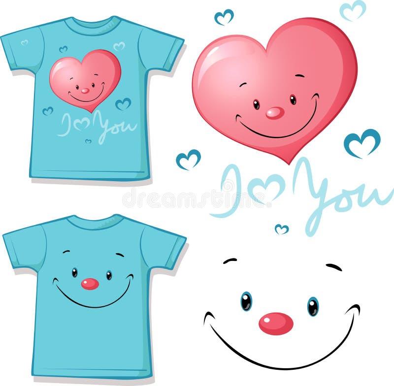 Camiseta rosada impresa - cara divertida del corazón - vector stock de ilustración