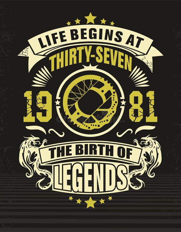 Camiseta treinta y siete del diseño ilustración del vector