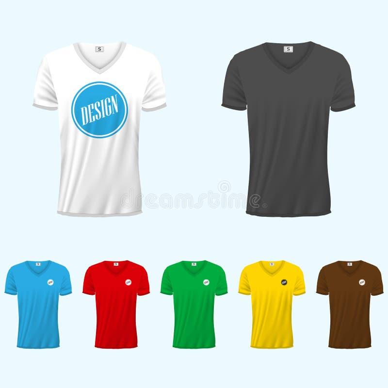 Camisetas coloreadas para los hombres stock de ilustración