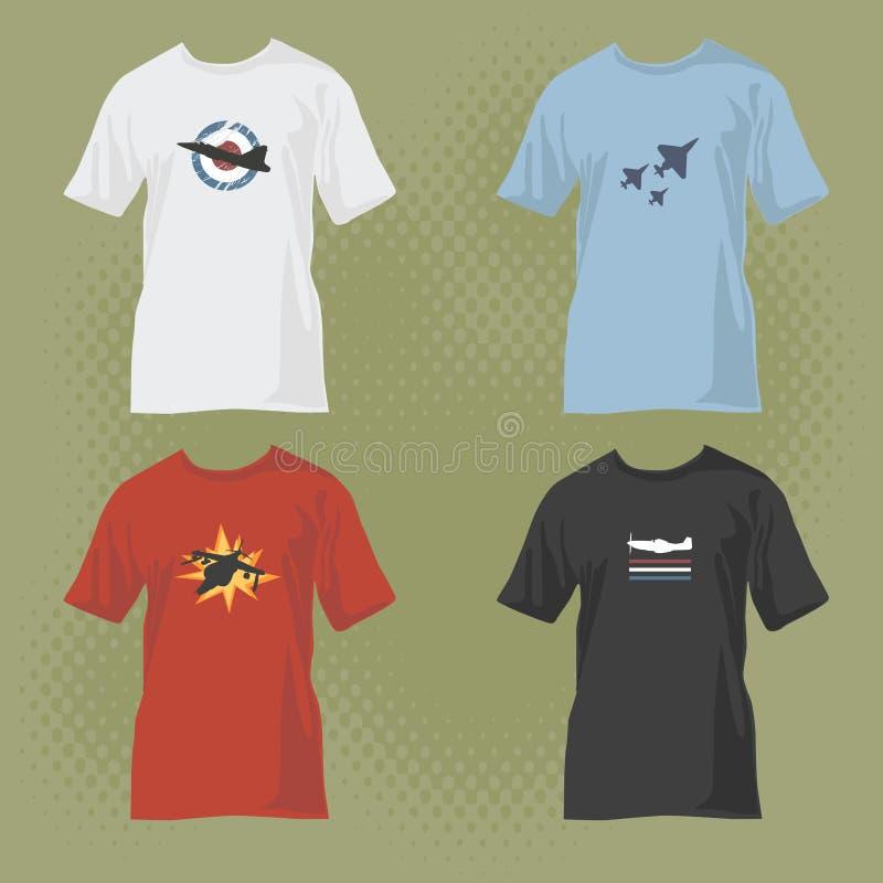 Camisetas con diseños del aeroplano ilustración del vector