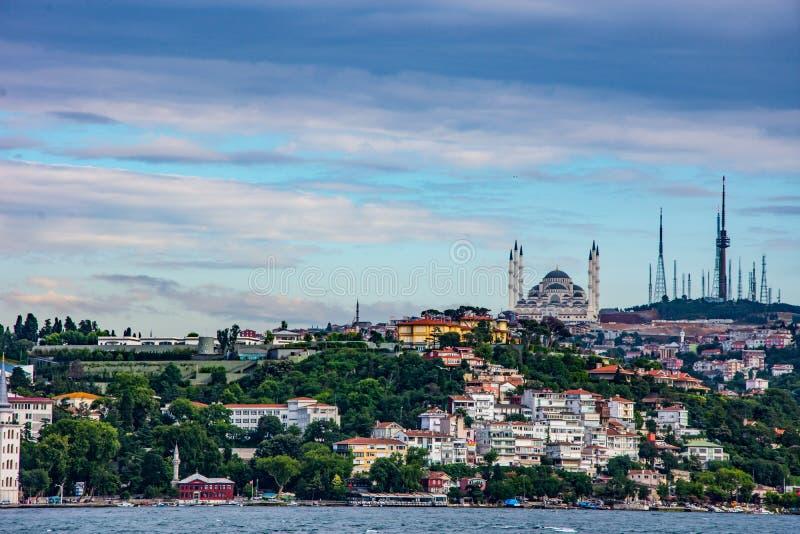 Camlica小山和共和国清真寺在伊斯坦布尔 库存照片