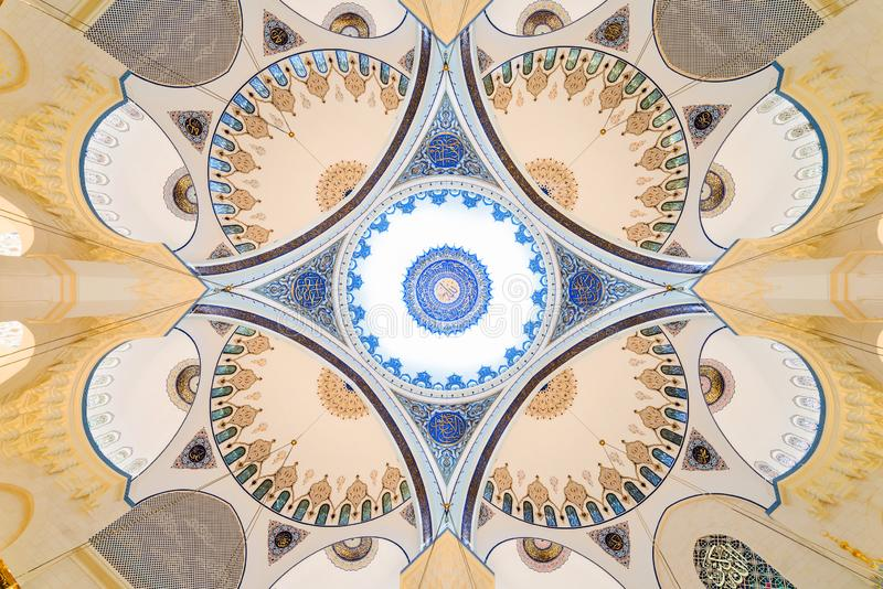 CAMLICA MOSQUE interior view in Istanbul, Turkey. stock images