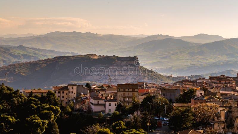 Cammarata, paysage de la Sicile, Italie images libres de droits