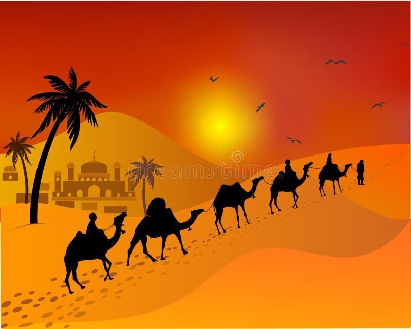 Cammelli del caravan che passano attraverso il deserto paesaggio orientale dei musulmani royalty illustrazione gratis