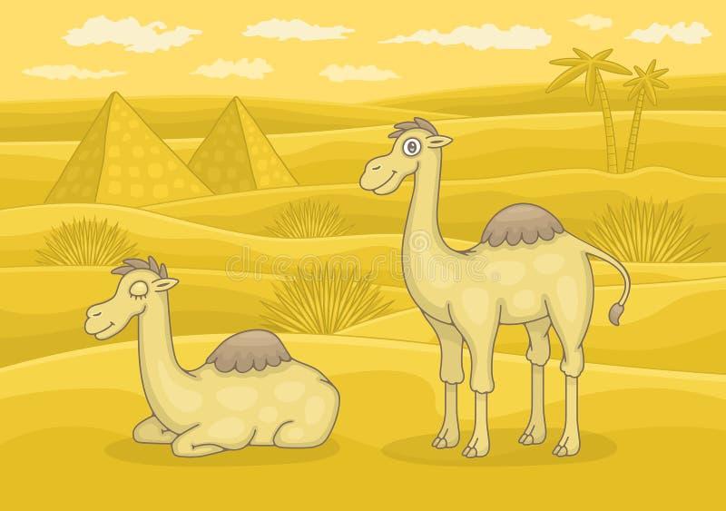 Cammelli in deserto royalty illustrazione gratis
