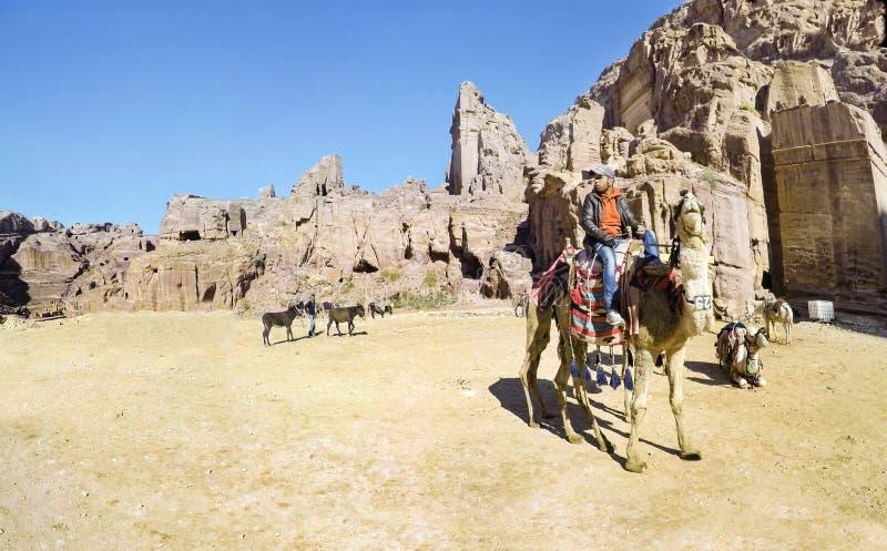Cammelli di Bbedouin e turisti POV vicino al Ministero del Tesoro Al Khazneh scolpito nella roccia a PETRA, Giordania immagine stock libera da diritti