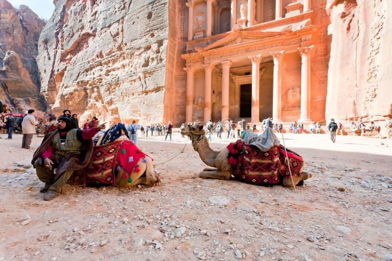Cammelli e bedouin sulla plaza di Ministero del Tesoro nel PETRA fotografie stock libere da diritti