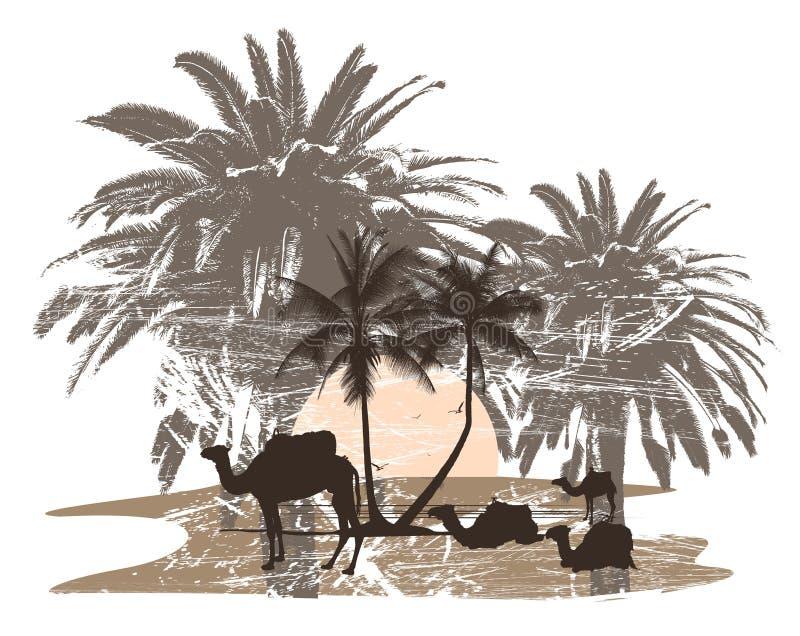 cammelli e palma royalty illustrazione gratis