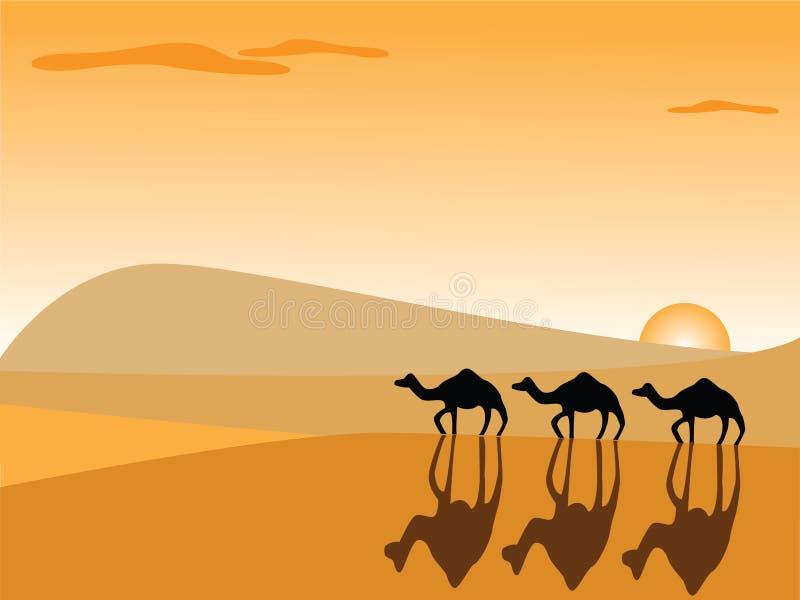 Cammelli nel deserto royalty illustrazione gratis