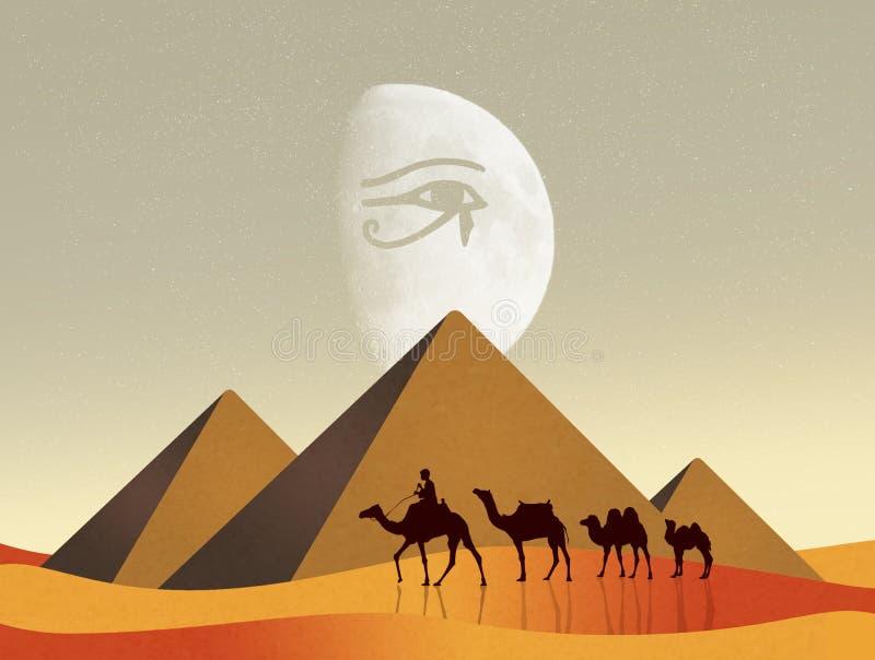 Cammelli nel paesaggio egiziano illustrazione di stock