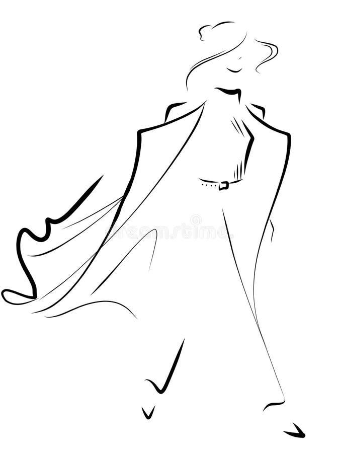 Cammina Chic nel vento royalty illustrazione gratis