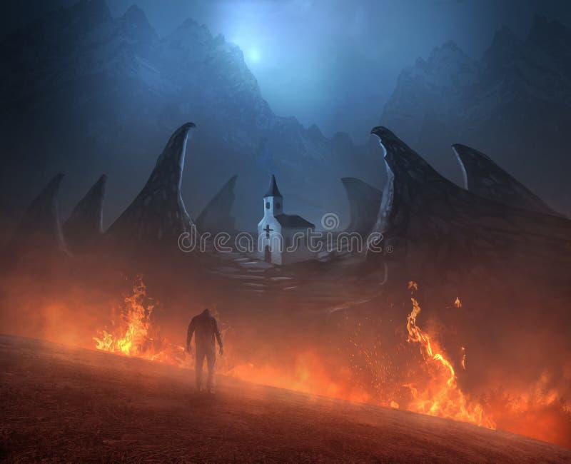 Camminando attraverso il fuoco alla chiesa royalty illustrazione gratis
