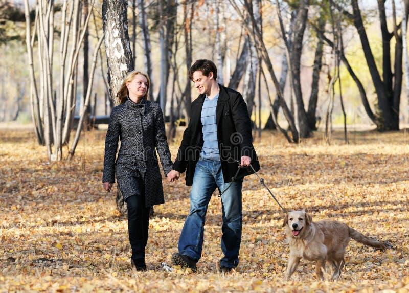 Camminando con il cane fotografia stock
