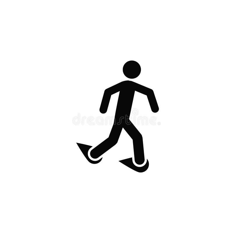 Camminando con le racchette da neve, icona Elemento dell'icona semplice per i siti Web, web design, app mobile, infographics Line illustrazione vettoriale